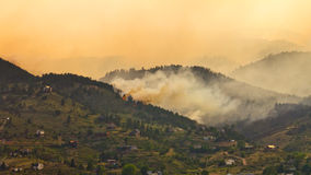 Wildfire Threatens Homes Stock Images