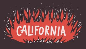 Wildfire van Californië het Kamp brandt concept uit Vector illustratie Vlambrand met teksthand het van letters voorzien stock illustratie