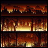 Wildfire vector background. Wildfire background. Burning forest vector horizontal banners. Forest fire design template. landscape nature, wood natural panorama Royalty Free Stock Photos