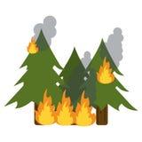Wildfire vernietigt pijnbomenkiel vector illustratie
