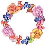 Wildflower begonia flower wreath in a watercolor style. Royalty Free Stock Photo
