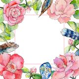 Wildflower camellia flower frame in a watercolor style. Stock Photo