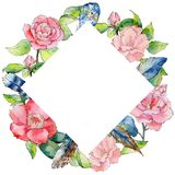 Wildflower camellia flower frame in a watercolor style. Royalty Free Stock Photography