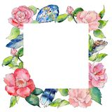 Wildflower camellia flower frame in a watercolor style. Royalty Free Stock Image