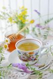 Wildflower and chamomile tea stock photography