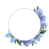 Wildflower cherry flower frame  in a watercolor style isolated. Stock Photos