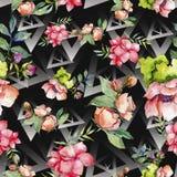 Wildflower cor-de-rosa do ramalhete Teste padrão sem emenda do fundo Textura da cópia do papel de parede da tela ilustração do vetor