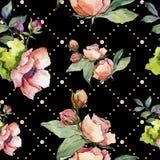 Wildflower cor-de-rosa do ramalhete Teste padrão sem emenda do fundo Textura da cópia do papel de parede da tela ilustração stock