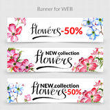 Wildflower dogwood promo sale banner template in a watercolor style isolated. Royalty Free Stock Photo