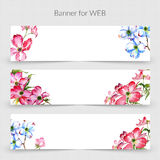 Wildflower dogwood promo sale banner template in a watercolor style isolated. Royalty Free Stock Photography