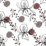 Wildflower e Rose Graphic da aquarela em um fundo branco Fotos de Stock Royalty Free