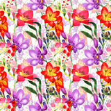 Wildflower fresia flower pattern in a watercolor style. Royalty Free Stock Image