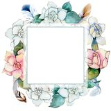 Wildflower gardenia flower wreath in a watercolor style. Royalty Free Stock Images