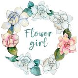 Wildflower gardenia flower wreath in a watercolor style. Stock Photo