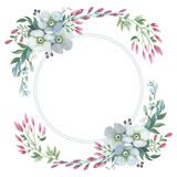 Wildflower lily flower wreath in a watercolor style isolated. Royalty Free Stock Photo