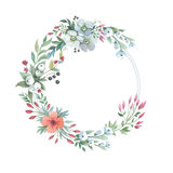 Wildflower lily flower wreath in a watercolor style isolated. Stock Images