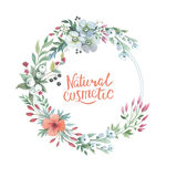 Wildflower lily flower wreath in a watercolor style isolated. Stock Image