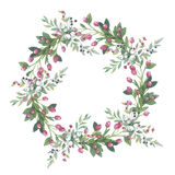 Wildflower lily flower wreath in a watercolor style isolated. Stock Photo