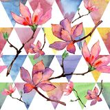 Wildflower magnolia flower pattern in a watercolor style. Full name of the plant: magnolia. Aquarelle wild flower for background, texture, wrapper pattern Royalty Free Stock Photos