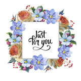 Wildflower myosotis flower frame in a watercolor style isolated. Stock Photography