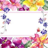 Wildflower orchid flower frame  in a watercolor style. Royalty Free Stock Photo