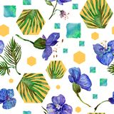 Wildflower orchid flower pattern in a watercolor style. Stock Photos