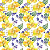 Wildflower orchid flower pattern in a watercolor style. Royalty Free Stock Photo