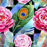 Wildflower peoni kwiatu wzór w akwarela stylu ilustracja wektor