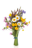 Wildflower Posy. Wildflower and grass varieties tied in a bunch isolated over white background royalty free stock photo