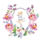 Wildflower rose flower frame in a watercolor style isolated. Stock Photography