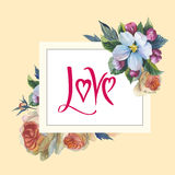Wildflower rose flower frame in a watercolor style isolated. Royalty Free Stock Image