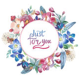 Wildflower rose flower wreath in a watercolor style isolated. Stock Photo