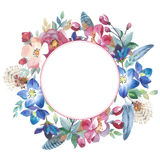 Wildflower rose flower wreath in a watercolor style isolated. stock images