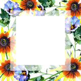 Wildflower sunflower flower frame in a watercolor style. Full name of the plant: sunflower. Aquarelle wild flower for background, texture, wrapper pattern Stock Photo