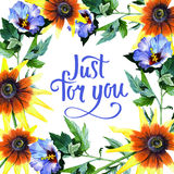 Wildflower sunflower flower frame in a watercolor style. Royalty Free Stock Photo