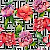 Wildflowerpfingstrosen-Blumenmuster in einer Aquarellart Lizenzfreie Stockfotos