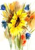 Wildflowers акварель иллюстрация штока