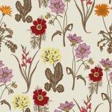Wildflowers вектор предпосылки безшовный Предпосылка для ткани, обоев и очень больше Стоковая Фотография