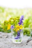 Wildflowers в стеклянной вазе Стоковое Фото
