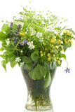Wildflowers. In a glass vase isolated over white background Royalty Free Stock Image
