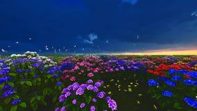 Θερινά wildflowers στην τρισδιάστατη απόδοση λιβαδιών φιλμ μικρού μήκους