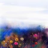 Wildflowers astratti, fiore della pittura dell'acquerello in prati royalty illustrazione gratis