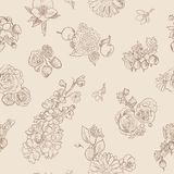 Wildflowers berries seamless pattern Hand drawn vector illustration vintage style Background gooseberries, strawberries. Wildflowers and berries seamless pattern Vector Illustration