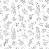 Wildflowers berries seamless pattern Hand drawn vector illustration vintage style Background gooseberries, strawberries. Wildflowers and berries seamless pattern stock illustration