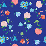 Wildflowers - bluebells, clover flowers, forget-me-nots. And field carnation, seamless pattern,  illustration Royalty Free Stock Photo