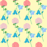 Wildflowers - bluebells, clover flowers, forget-me-nots. And field carnation, seamless pattern, vector illustration Royalty Free Stock Image