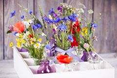 Wildflowers in bottles Stock Photos