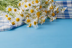 Wildflowers bouquet on blue table at sunset Royalty Free Stock Photo