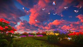 Wildflowers d'été sur le rendu du pré 3d Photo stock