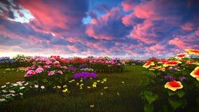 Wildflowers d'été sur le rendu du pré 3d Photos libres de droits